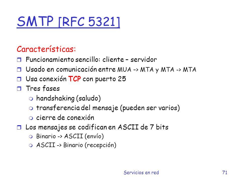 SMTP [RFC 5321] Características: